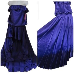 HIGH LOW GOTH STRAPLESS DRESS OR COVER PURPLE SM